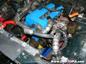 Image showing the larger t3 super 60 turbo installed with the new top mount manifold on the ca18det.