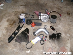 Jpeg showing the parts of the Comptech Centrifugal Supercharger for the Honda S2000.