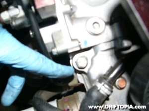 Remove this bolt to make room for the lower mounting of the comptech supercharger on the honda s2000