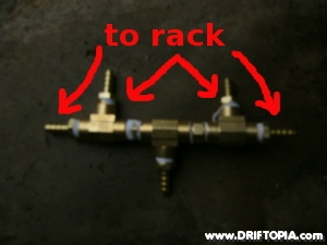The routing block for the power steering removal on the mr2 spyder