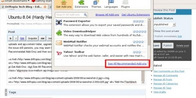 Ubuntu 8.04 (Hardy Herron), Firefox 3, WordPress 2.5 File Uploader Hack