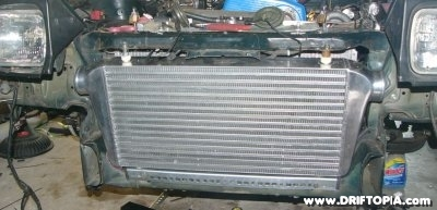 Image of the new front mount intercooler on the ca18det swapped 240sx s13