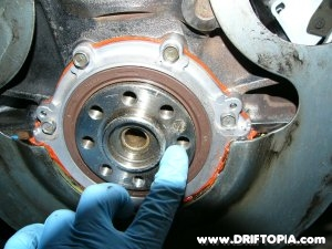 The flywheel pin needs to be removed from the back of the ca18det crankshaft.