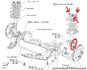 Diagram showing the front suspension on a 240sx.