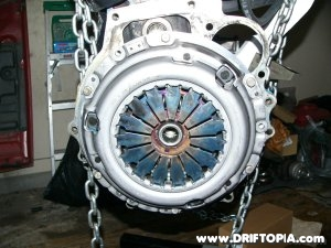The pressure plate attached to the flywheel