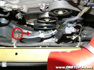The 2 bolts on the steering rack need to be removed in order to install the cross member on the T1R brace for the S2000